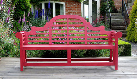 red painted lutyens garden bench 180