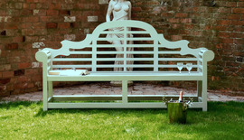 Garden Benches Painted Lutyens Olive Green