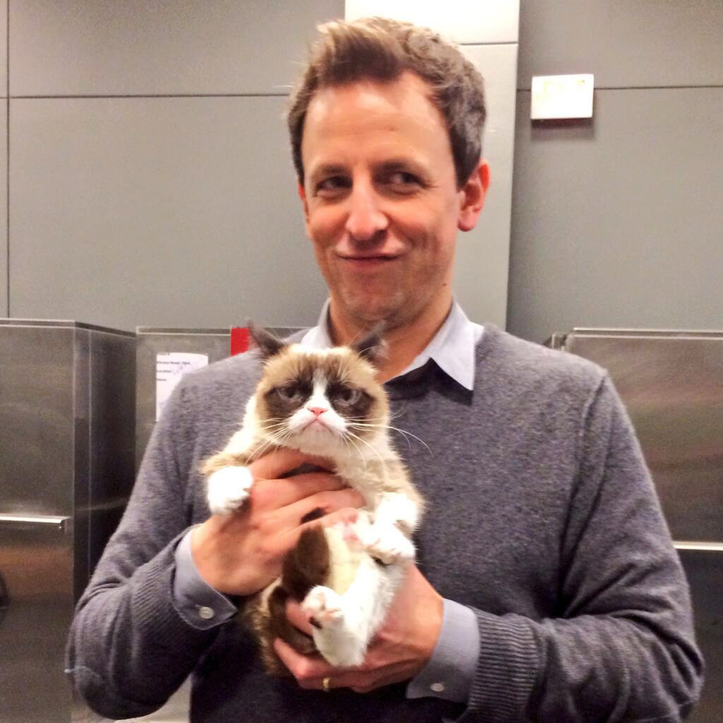 sxsw2014 sethmeyers grumpycat Gary Sharmas Highlights From SXSW 2014   Assange, Grumpy Cat, Wrecking Ball, 3D Oreos & more!
