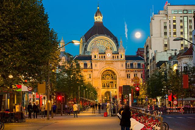 Antwerp's colorful and historic port in Blegium