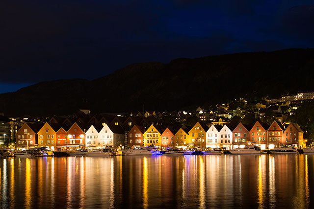 The UNESCO-listed wharf known as Bryggen in Bergen, Norway