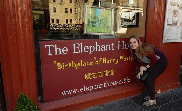 Traveler Stephanie at the Elephant House in Edinburgh