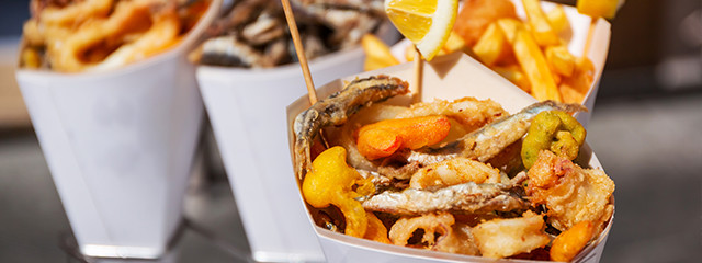 Fried seafood in Cinque Terre, Italy