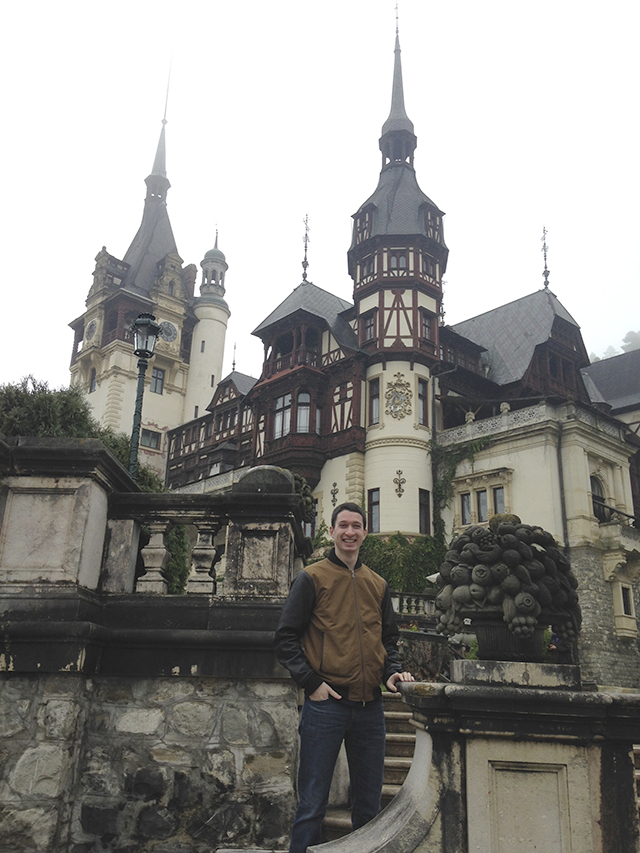 Jared in front of Peles Castle, Bucharest