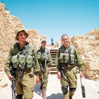 Young IDF soldiers posing for a photo in Masada