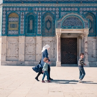 A family visiting the Dome of the Rock, Israel