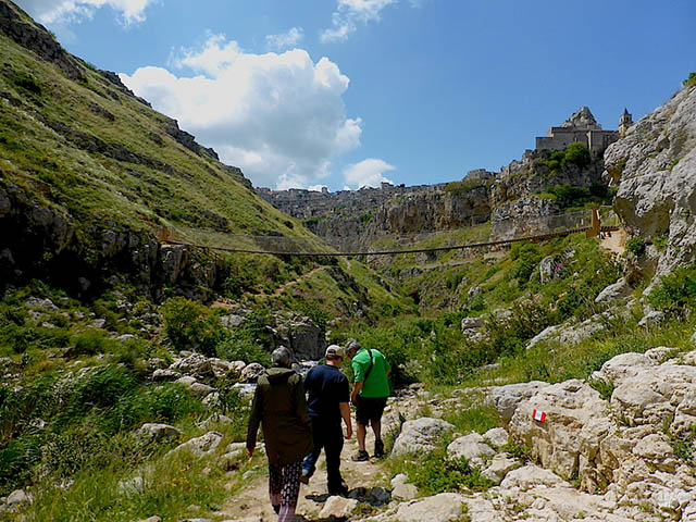 Approaching suspension bridge in Matera, Italy