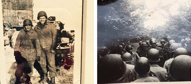 Photos taken during World War II—Karen's father on the top left, and his division with General Patton