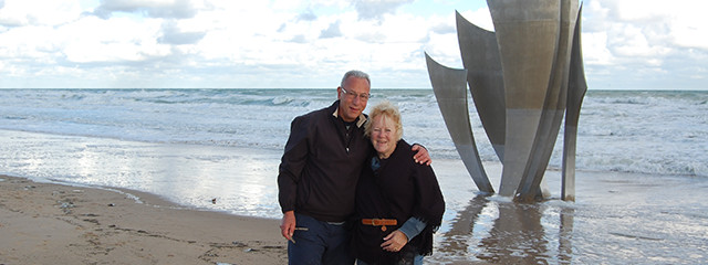 Mike and Karen on the D-Day Beaches of Normandy