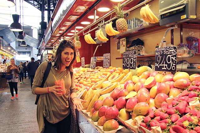 Sofie at La Boqeuria market in Barcelona, Spain