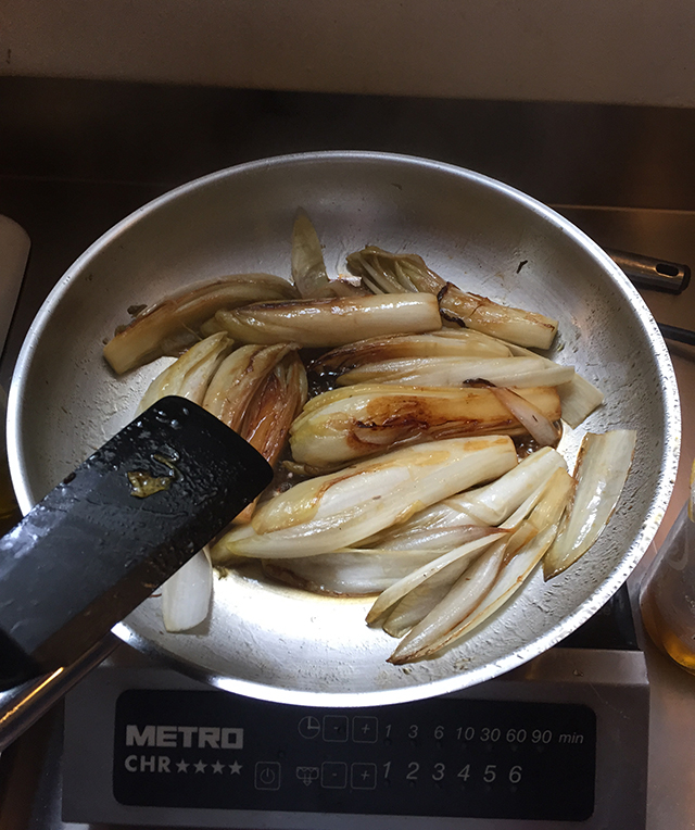 Cooking endive in Tours, France