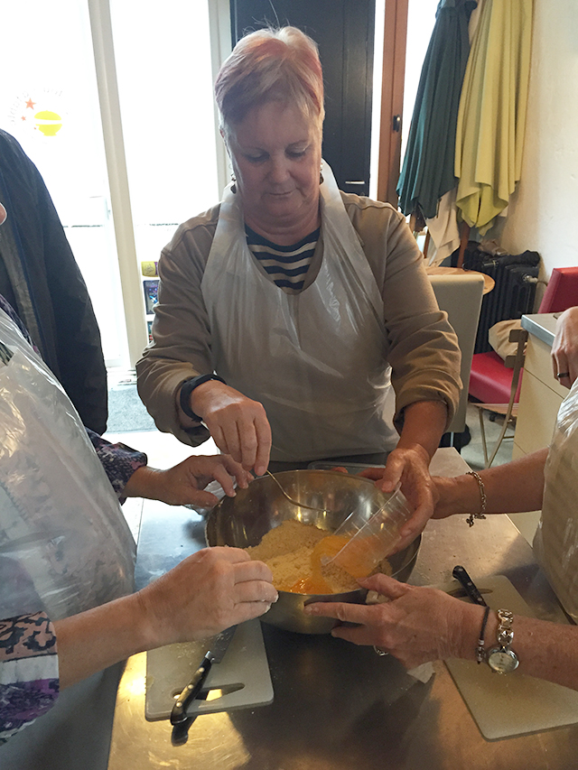 Making goat cheese and endive appetizers at a cooking class in Tours, France
