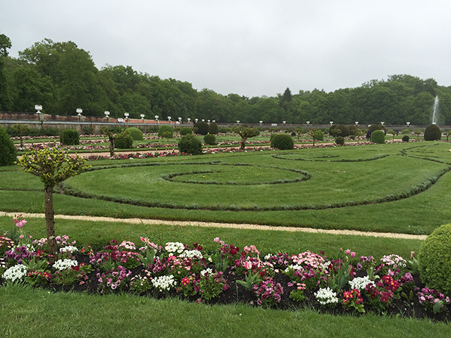 Gardens in front of Chateau de Chenonceau in Loire Valley, France