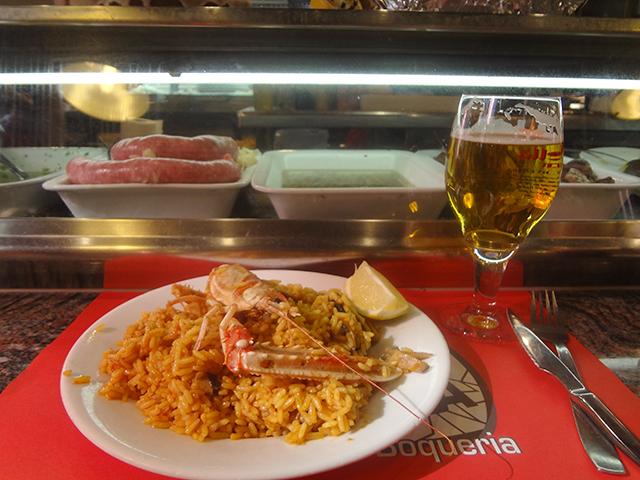 Seafood paella in Barcelona, Spain