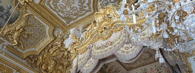 Queen's bedchamber in palace of Versailles, France
