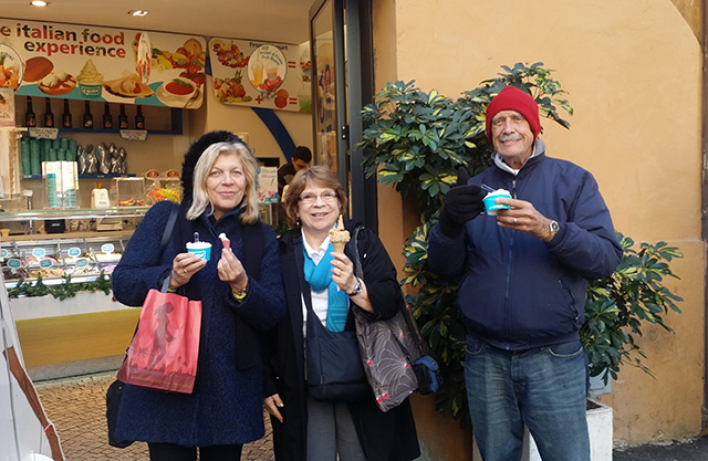 Enjoying gelato in Rome, Italy