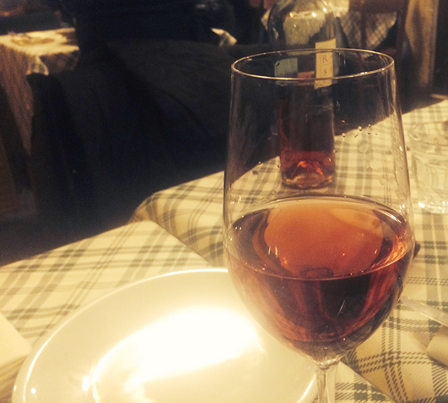 Wine at dinner in Italy