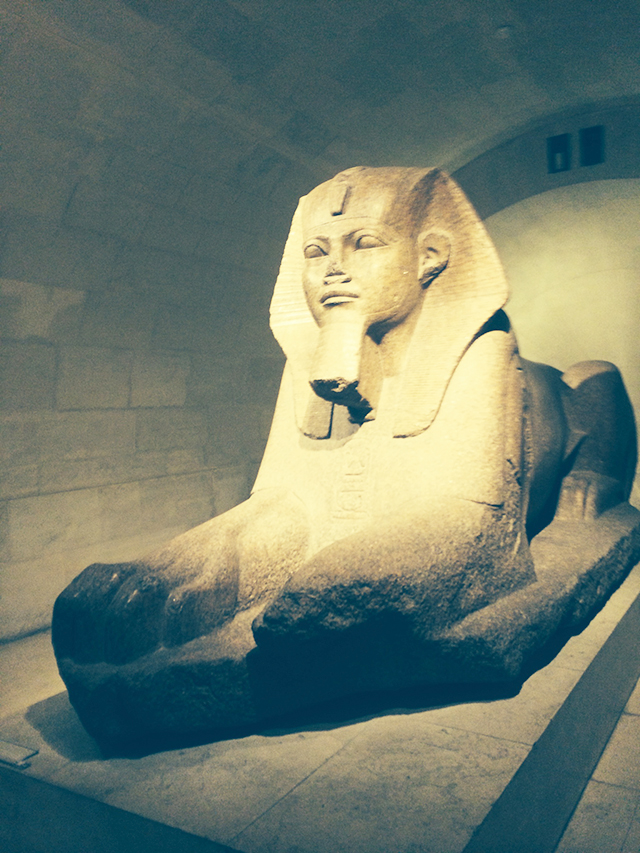 Egyptian sculptures at the Louvre in Paris, France