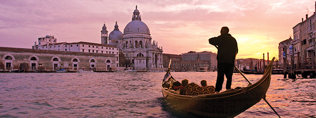 Gondola at sunset in Venice, Italy