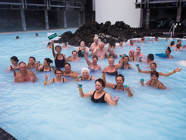Group Coordinators relaxing and enjoying the Blue Lagoon