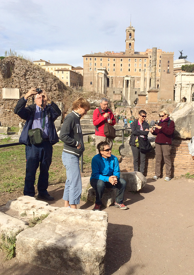 Group at Roman Forum in Rome, Italy