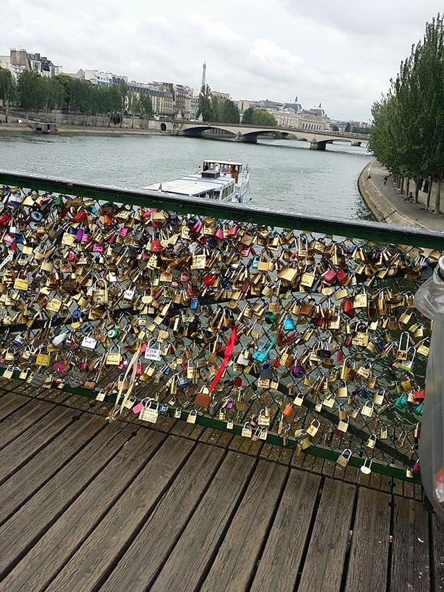Love locks bridge in Paris, France