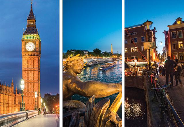London Paris & Amsterdam at night
