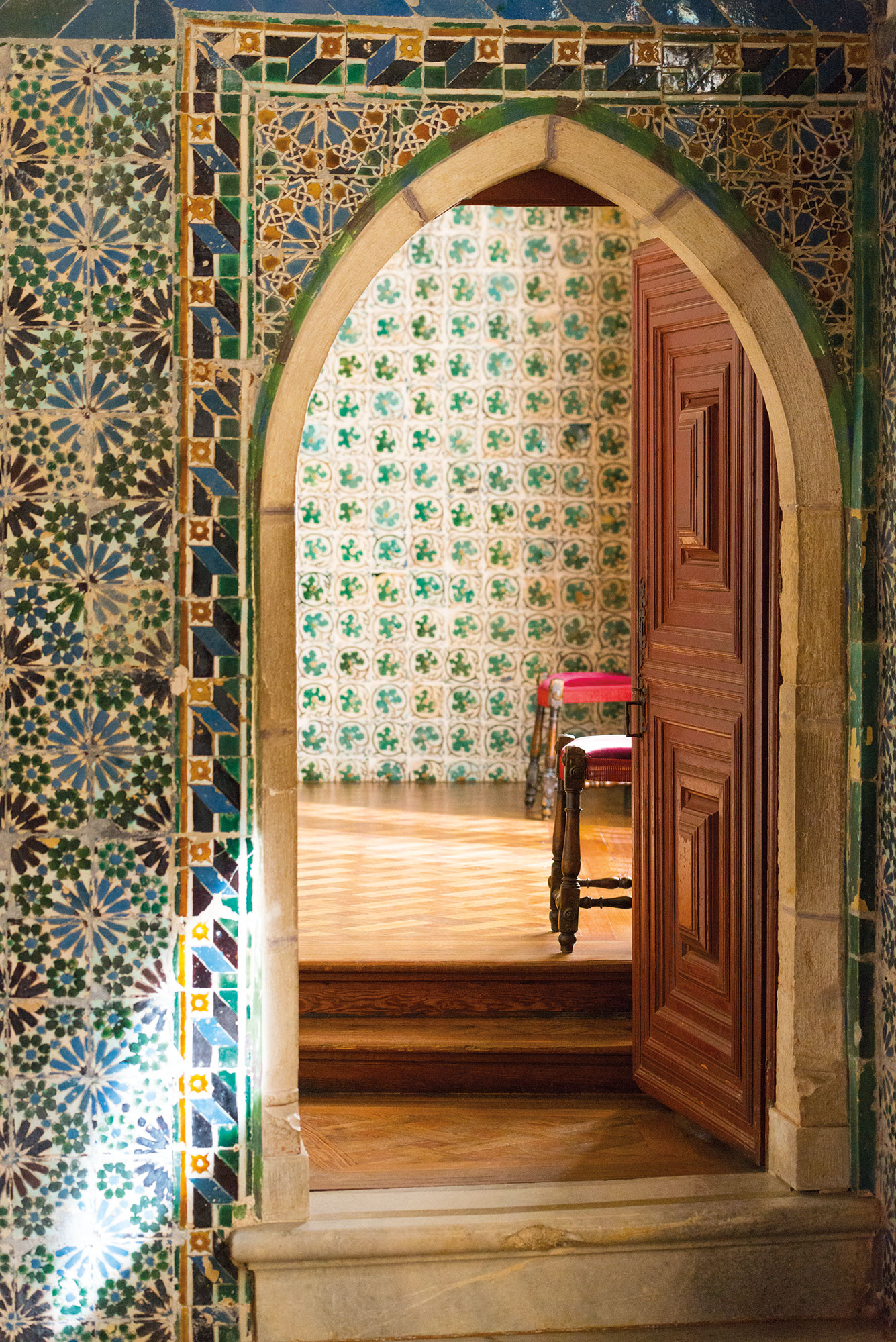 The colorful tiles inside Sintra's ornate palace