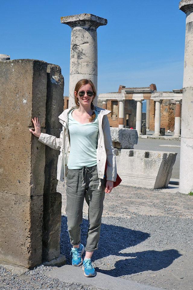 Katie standing in Pompeii on the Amalfi Coast Walking Tour