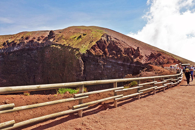 Walking up Mount Vesuvius near Pompeii, Italy