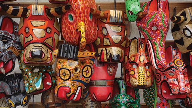guatemala market carved masks