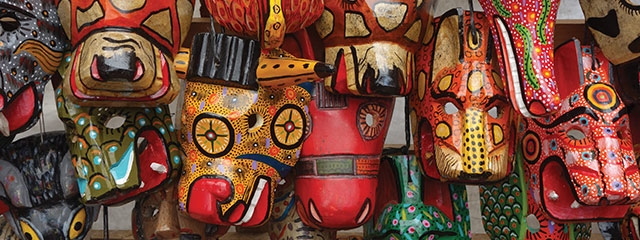 guatemala market, carved masks
