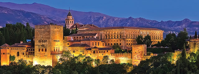 The Alhambra in Granada, Spain lit up at night