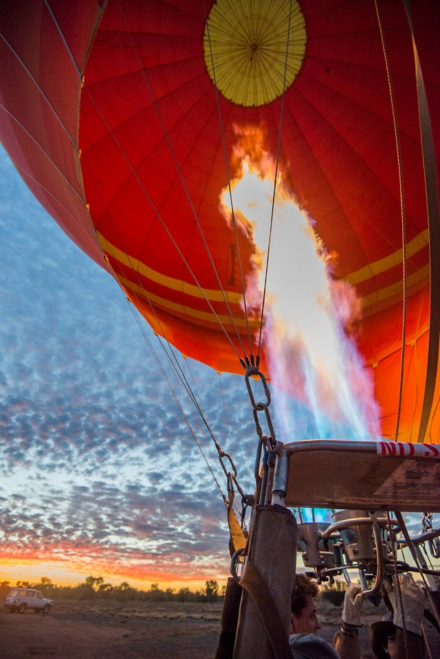 A sunrise hot air balloon in Alice Springs, Australia