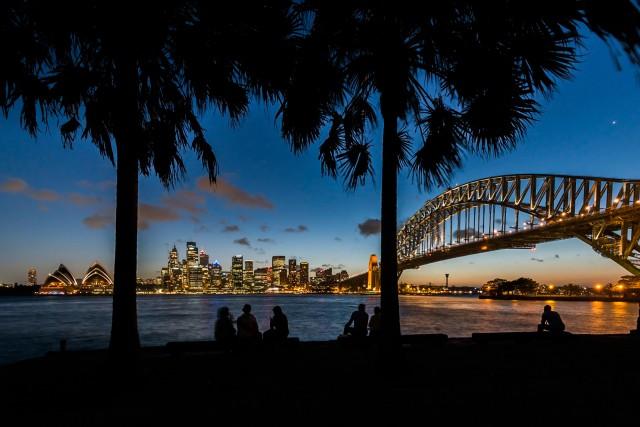Sydney Harbor lit up at night