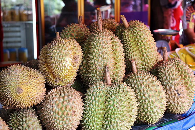Durian fruit is a popular street food in Singapore