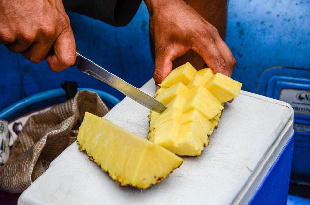Fresh pineapple on a boat safari in Costa Rica