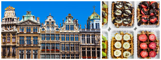 Sample Belgian waffles and chocolate in Brussels, Belgium.