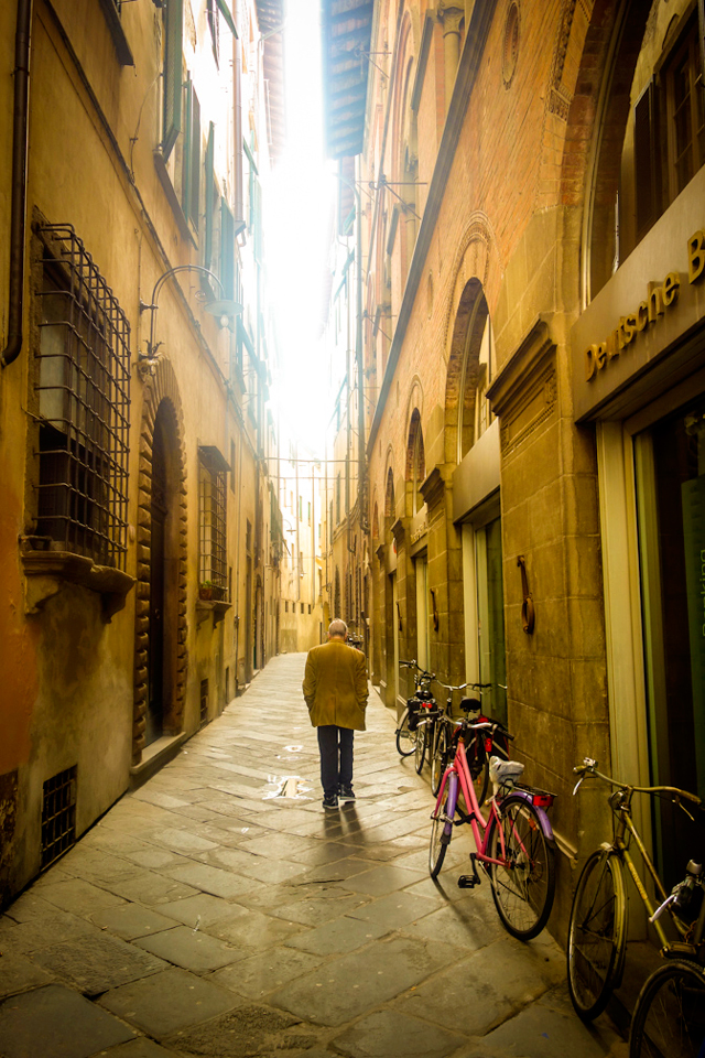 Man walking in Florence, Italy