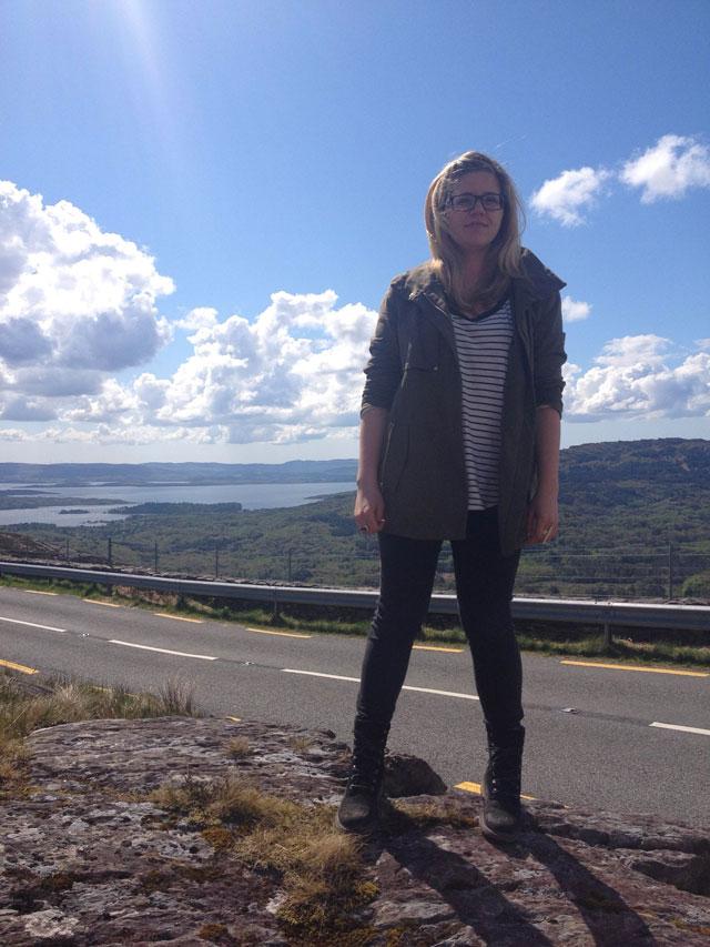 Jessie standing on the motorway of Skibbereen in Cork County, Ireland