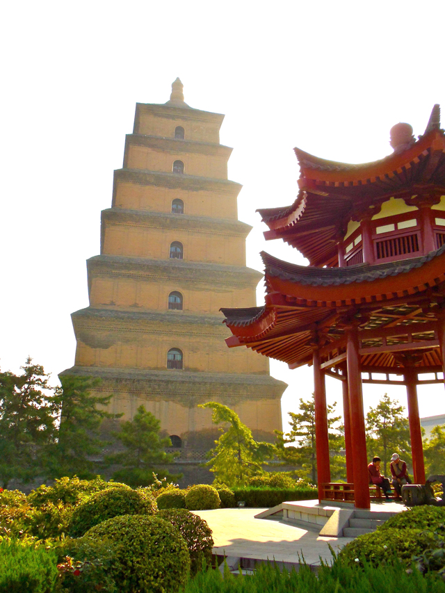 The Big Wild Goose Pagoda in Xi'an sits among beautiful gardens and an active Buddhist temple—it was, by far, one of the most peaceful places we visited in China.