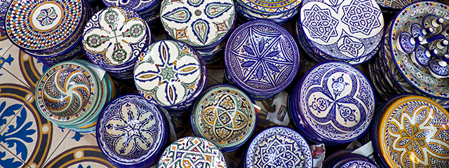 Handcrafts shot at the market in Morocco