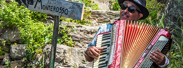 Musician in Monterosso, Italy