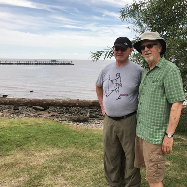 Steve and Richard hiking at the Buenos Aires Costanera Sur Ecological Reserve