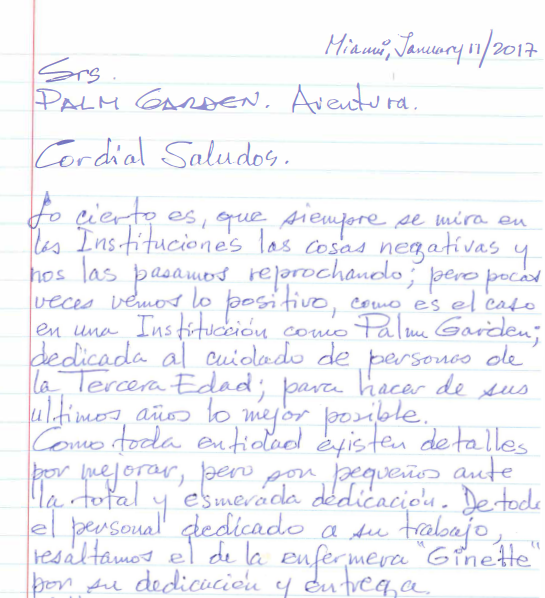 January 11, 2017 Testimonial to Palm Garden of Aventura in Espanol