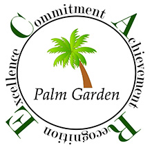 C.A.R.E award logo with a palm tree in the middle of the text