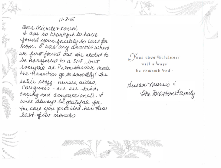 Testimonial card from the Braxon family thanking the staff for the care their mom received