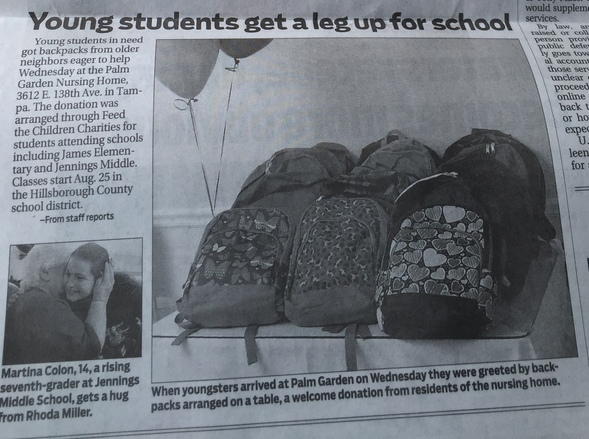 Newspaper Article about our residents providing school supplies to Feed our Children