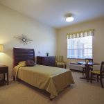 single occupancy resident room that is clean and stylish