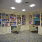 nicely appointed library and media room